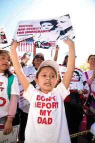 April 18, 2016 - Washington, DC, United States of America - ''Don't Deport My Dad''. Demonstrators gathered outside the U.S. Supreme Court as it heard oral arguments in a challenge to President Obama's plan to protect millions of immigrants from deportation and allow them to work, on Monday, April 18, 2016 in Washington D.C. (Photo by Jeff Malet) (Credit Image: © Jeff Malet/Newscom via ZUMA Press)