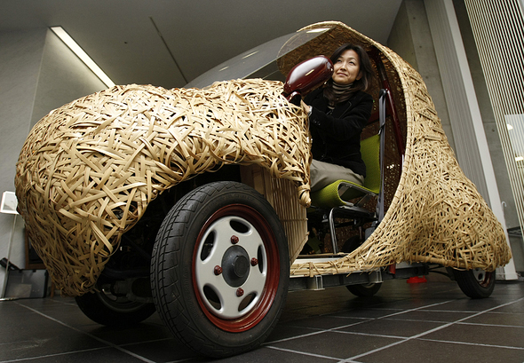''Bamgoo'', an electric car with a body made out of bamboo, is displayed in Kyoto