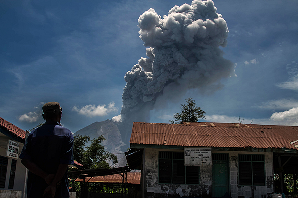 Sinabung Volcano Erupts In North Sumatra 2017