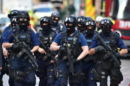 June 4, 2017 - London, UK - Armed police on St Thomas Street, London, near the scene of last night's terrorist incident at Borough Market. (Credit Image: © Dominic Lipinski/PA Wire via ZUMA Press)