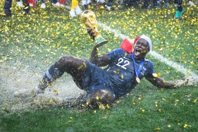 July 15, 2018 - Moscow, Russia - BENJAMIN MENDY, of France, celebrates after the 4:2 French victory over Croatia in the FIFA World Cup Final, at Luzhniki Stadium. (Credit Image: © Marvin Ibo Guengoer/DPA via ZUMA Press)