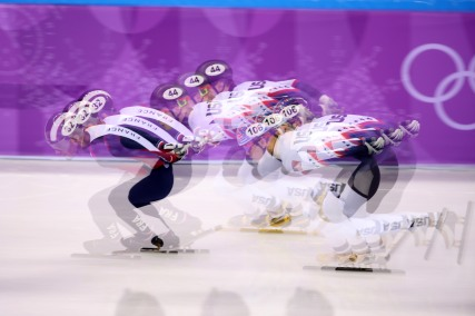 February 10, 2018 - Gangneung, South Korea - Mens 1500m Semifinal 2 during Short Track Speed Skating action at the 2018 Pyeongchang Winter Olympic Games, held in Gangneung Ice Arena. (Credit Image: © Scott Mc Kiernan/ZUMA Wire)